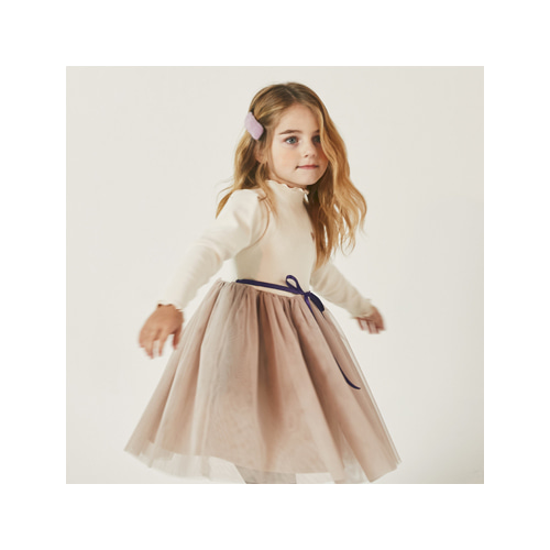 [MY LITTLE STAR] Ribbon Tulle dress _ cream
